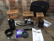 Nikon F65 Silver 35mm Film Camera & Nikkor F AF G 70-300 & 28-100mm Lenses Boxed
