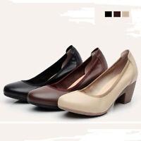 Women Ladies Shallow Mid Block Heel Office Comfort Slip On Court Shoes Plus Size