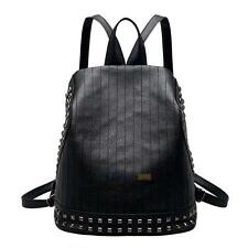 Korean Style Rivet Women PU Leather Backpack Simple Girls Travel Backpack #3YE