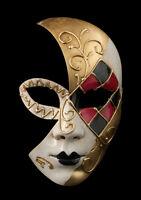 Maschera Di Costume Luna Veneziana Mosaico Nero Rosso -1844 V69