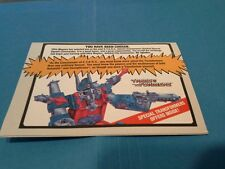 VINTAGE G1TRANSFORMERS OFFER CATALOG REFLECTOR, VIDEOCASSETTE , S.T.A.R.S.+ MORE