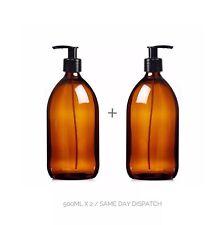 2 x 500 ML Vuote Ambra Vetro con Sapone Lozione Pompa Shampoo Dispenser Bottiglia