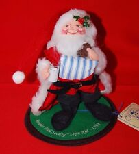 "Vtg 1994 Annalee Doll Society 7"" Logo Kid Santa Claus w Cookies & Milk w Tag"