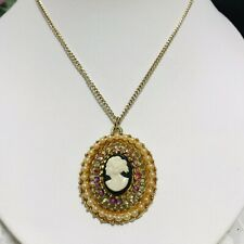 CAMEO NECKLACE WITH AB Rhinestones And Seed Pearls Goldtone Comes With 2 Chains