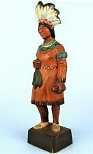"""VINTAGE HAND CARVED WOOD CIGAR STORE INDIAN STATUE """"THE SQUAW"""" SIGNED HANNAH VT"""