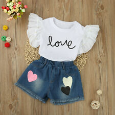 2PCS Kids Toddler Baby Girl T-Shirt Tops+Denim Shorts Pants Summer Suit Clothes