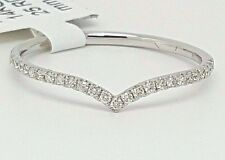 14K White Gold Natural Diamond Chevron Curved Wedding Band Ring Enhancer Pave