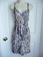 Banana Republic Dress 8 Twisted Straps SILK Elastic Front Grey Taupe Geometric