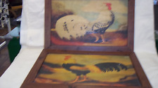 TWO  VINTAGE 2000 FRENCH ROOSTER BY ALEXANDRA CHURCHILL ANTIQUE FOLK ART ON WOOD