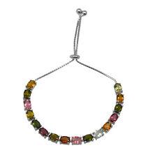 925 Sterling Silver Oval Natural Tourmaline Gemstone Adjustable Chain Bracelet