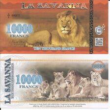 LA SAVANNA 10000 FRANCS 2016 LOTE DE 5 BILLETES