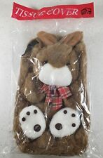 Plush Bunny Tissue Box Cover With Hanging Strap For Car Travel NIP