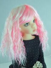 """Doll Wig, Monique Gold """"Snow"""" Size 7/8 in White w Pink"""