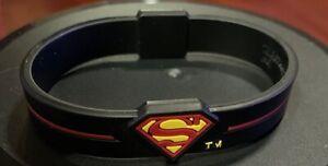 SUPERMAN Silicone Rubber Bracelet Wristband Black or Pink US Seller