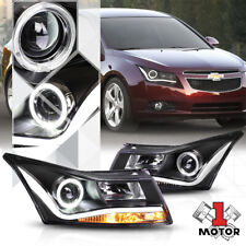 Black Halo[ANGEL EYE]Projector Headlight*LED DRL BAR*Lamp for 11-15 Chevy Cruze