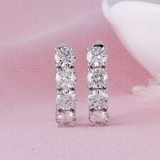 1.15Ct Round Cut VVS1/D Diamond Huggie Hoop Earrings Solid 14K White Gold Finish