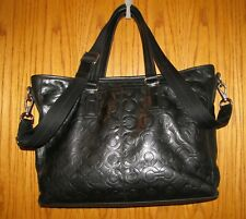 Authentic Coach Black Leather Embossed Mens Business Bag/Tote/Crossbody No.70253