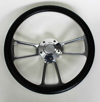 "El Camino Nova Chevelle Steering Wheel Kit Black and Billet 14"" Chevy Bowtie Cap"