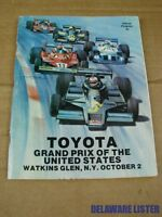 1977 Toyota Grand Prix of the U.S. Program Indy Watkins Glen Formula 1 Book RARE