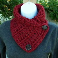 NECK WARMER SCARF Dark Solid Red Soft Handmade Crochet Knit Buttoned Winter Cowl