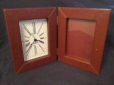 Seth Thomas Brown Leather Bound Folding Picture Frame Clock WORKS New Battery