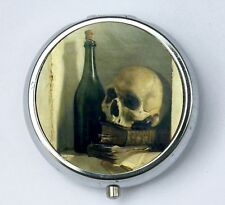Skull and Bottle PILL case pillbox pill box holder gothic goth