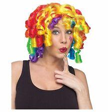 Crazy Curly Curlz Rainbow Clown Wig Adult Costume Accessory