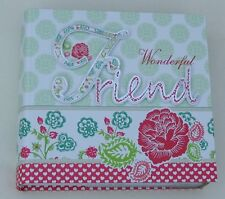 "PHOTO ALBUM FOR WONDERFUL FRIEND BOXED 80 X 4""X6"" PRINTS EMBOSSED GREEN & PINK"