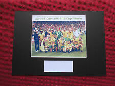 NORWICH CITY 1985 MILK CUP WINNERS SIGNED TEAM MOUNTED PHOTO DISPLAY - REPRINT