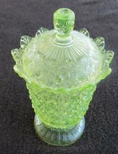 """DAISY AND BUTTONS FOOTED COVERED CANDY DISH VASELINE GLASS 8 1/2"""" TALL"""