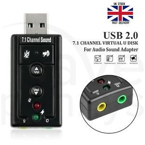 External USB Sound Card Adapter Virtual 7.1 Ch 3D Audio 3.5mm for PC Mac Laptop