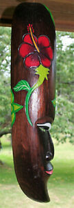 """Polynesian Mask Wall Art 20"""" Long Hand Carved Wooden Hanging Tiki Flower Plaque"""