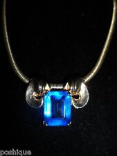 Coro Signed Choker Necklace Royal Blue Gem Silver Tone Vintage Antique Chic