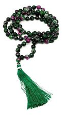 Ruby Zoisite Japa Mala Necklace 108 Beads Natural Gemstones Genuine Crystal