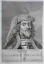 Gravure Antique print GUILLAUME III Comte de Hollande Flipart Count of Holland