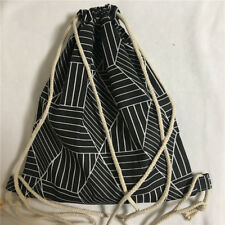 Cotton Linen Drawstring Travel Backpack Student Bag Geometry Black Diamond B41E