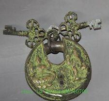 China's old Tibetan Buddhism bronze god locks lock the key figure of Buddha