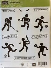 Stampin Up SIMPLY SPORTS clear mount stamps soccer hockey football team game