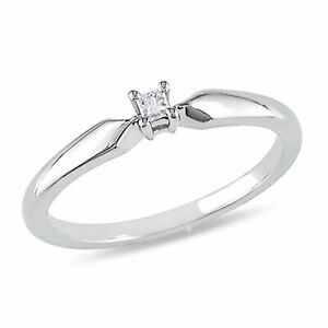 Natural Diamond Accent Solitaire Engagement Ring 14k Gold Over Sterling Silver