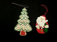 SET OF 2 HANDMADE CLAY CHRISTMAS TREE ORNAMENTS SANTA CLAUS RED GREEN WHITE GOLD