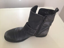 WOMEN NEXT DISTRESSED BLACK LEATHER ANKLE BOOTS SIZE 4
