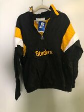 Pittsburgh Steelers Starter Retro Hooded 3/4 Zip Jacket - Large NEW