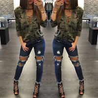 US Women Camouflage Printed V-Neckline Long Sleeves T-Shirt Tops Blouse Modern