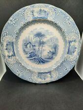 More details for antique victorian blue & white - lucerne dinner plate by j w pankhurst 1852-1882