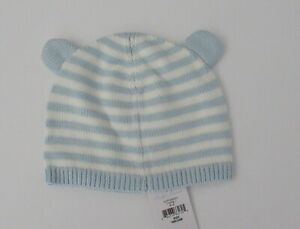 NWT Ralph Lauren Infant Boy Bear Ear Blue Striped Cotton Knit Hat 18m 24m NEW