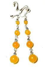 Very Long Yellow Clip-On Earrings Agate Jade Gemstone Bead Silver Boho Hippy