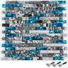 Backsplash Tile for Kitchen & Bathroom Teal Blue Glass & Gray Marble 6PCS