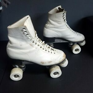 Vintage Riedell Red Wing White Roller Skates Quads Chicago Plates Womens Size 7