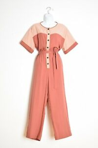 Madewell jumpsuit salmon two tone rayon sweetheart romper outfit pants L