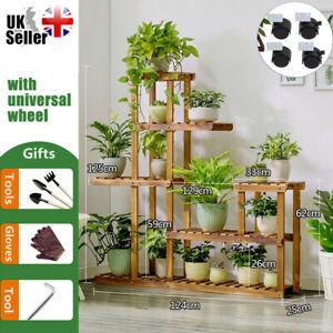 Wooden Flower Rack Outdoor Indoor Pot Plant Stand Display Garden Decor 4 Styles